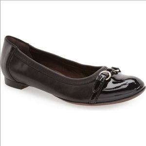 AGL Quilted Cap Toe Black Patent Ballet Flat 35.5